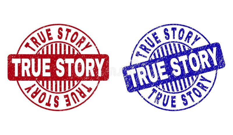 La HISTORIA VERDADERA del Grunge rasgu?? los sellos redondos del sello stock de ilustración