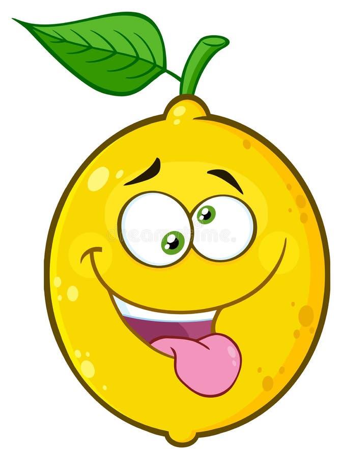 La historieta amarilla enojada Emoji de la fruta del limón hace frente al carácter con la expresión loca y la lengua que resalta libre illustration