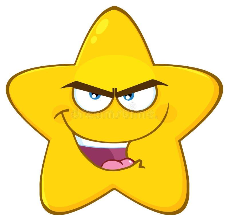 La historieta amarilla malvada Emoji de la estrella hace frente al carácter con la expresión malintencionada ilustración del vector