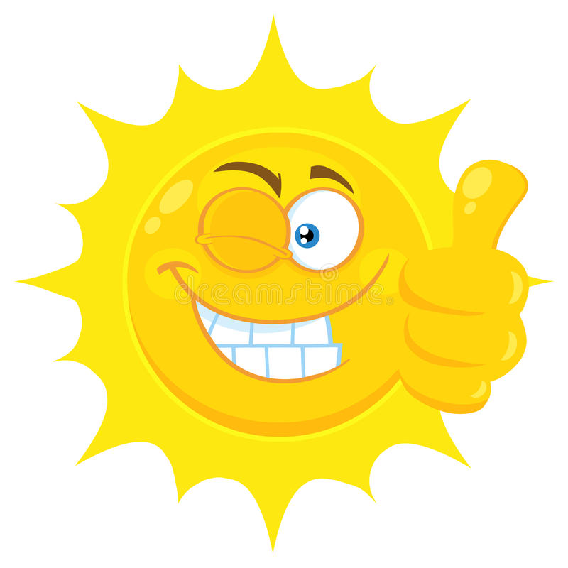 La historieta amarilla sonriente Emoji de Sun hace frente al carácter con Wink Expression Giving un pulgar para arriba stock de ilustración