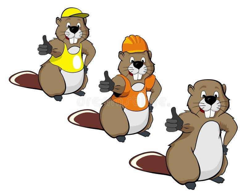 La historieta beavers tres stock de ilustración