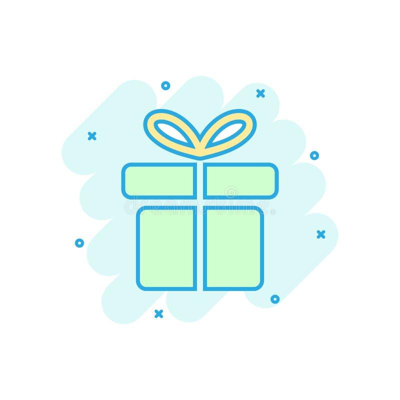 La historieta coloreó el icono de la caja de regalo en estilo cómico Actual illus del regalo ilustración del vector