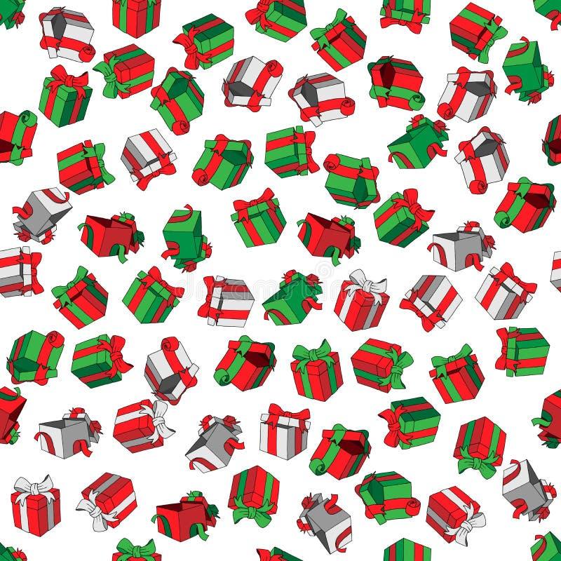 La historieta coloreada modelo inconsútil del vector garabatea las cajas de regalo en el fondo blanco ilustración del vector
