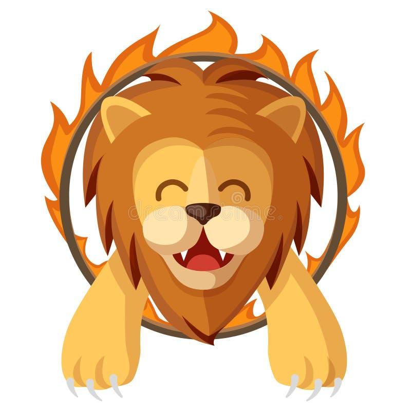 La historieta colorida entrenó al león que saltaba a través del anillo del fuego Ejemplo feliz y lindo de la demostración mágica  libre illustration