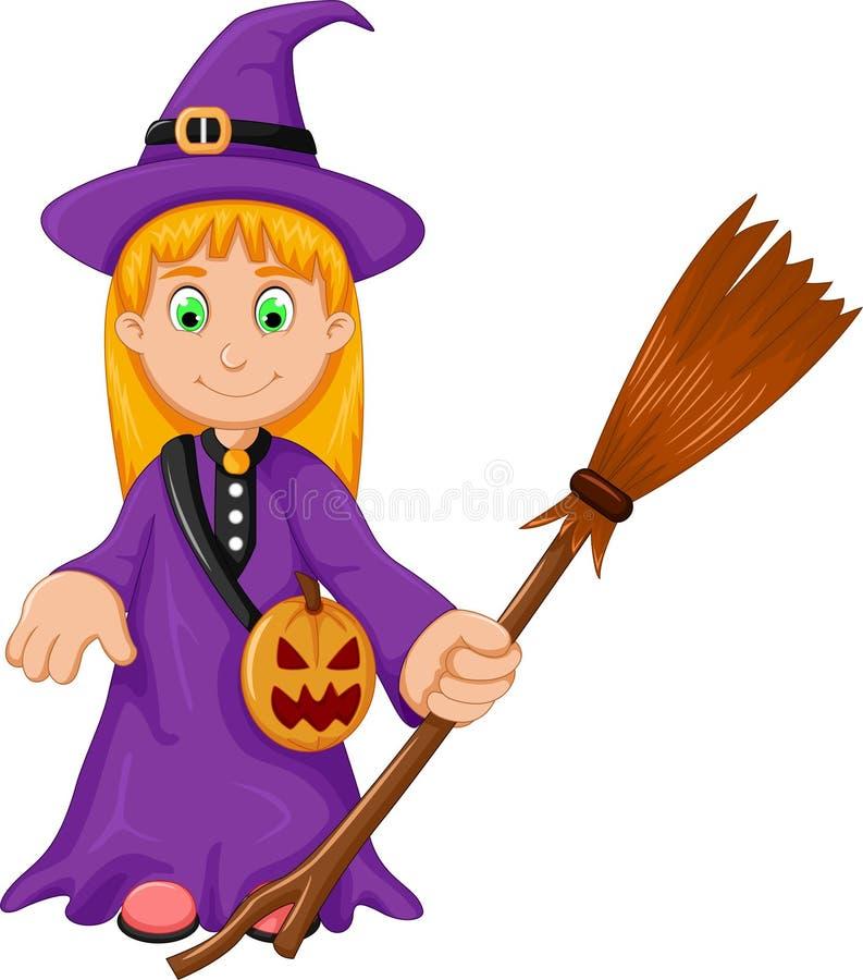 La historieta de Halloween de la bruja con la escoba y la calabaza empaquetan libre illustration