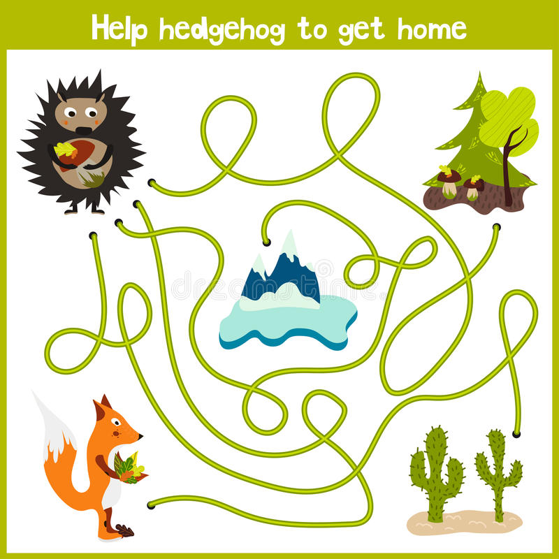 La historieta de la educación continuará el camino de casa lógico de animales coloridos Ayude al erizo del bosque a traer un hoga libre illustration