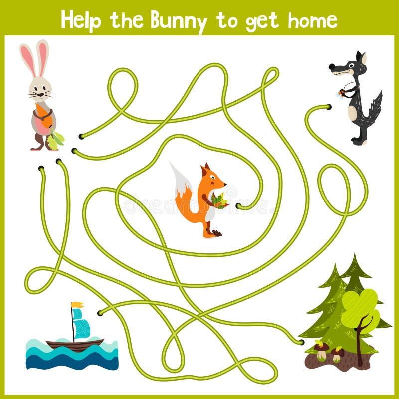 La historieta de la educación continuará el camino de casa lógico de animales coloridos Traiga el hogar del conejito en el bosque libre illustration