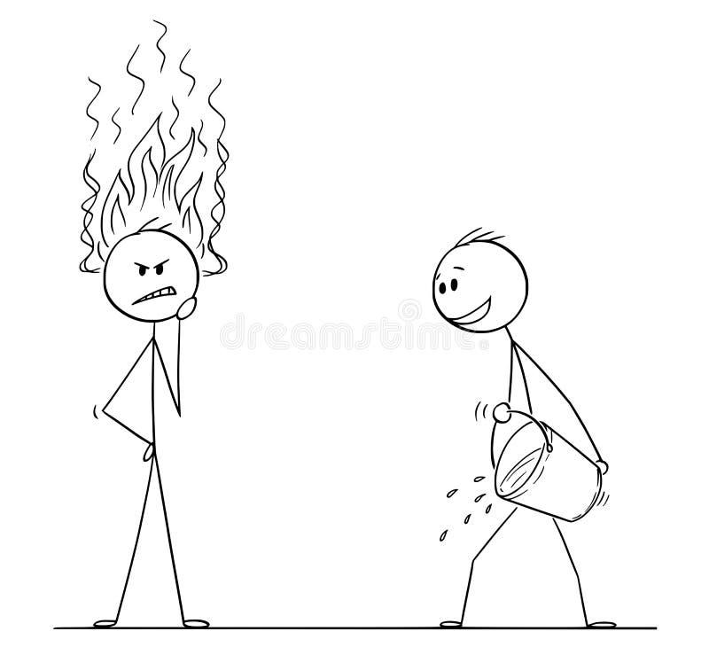 La historieta de las llamas del hombre o de Thinking Hard With del hombre de negocios que vienen de la cabeza, otro hombre con el stock de ilustración