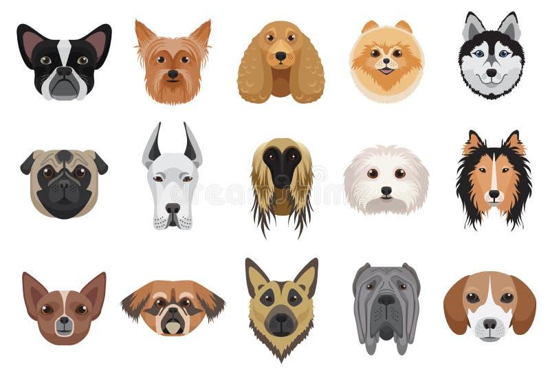 La historieta de los perros dirige el sistema del vector de los emoticons de la cara stock de ilustración