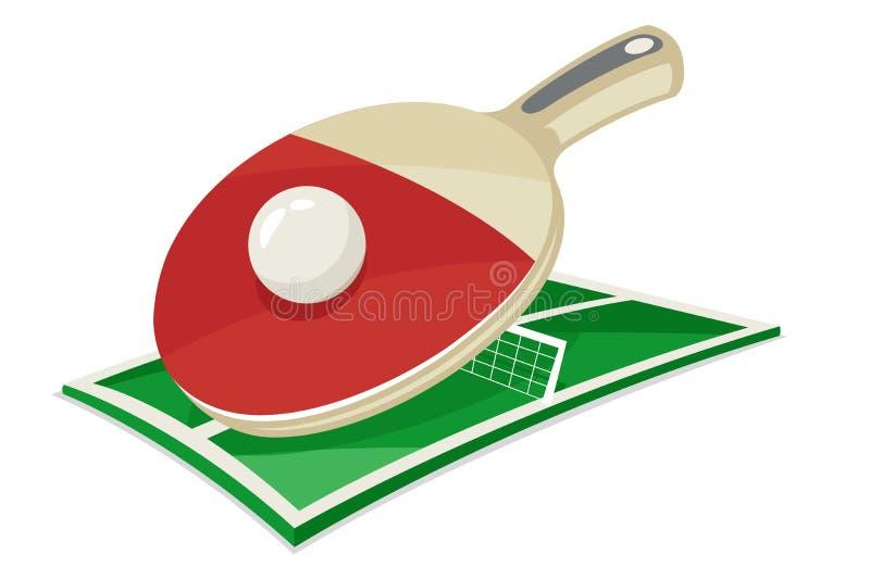 La historieta del deporte de campo de bola de la estafa de tenis de mesa aisló el ejemplo del vector del icono libre illustration