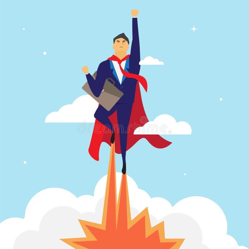 La historieta del hombre de negocios está volando, ejemplo del vector ilustración del vector