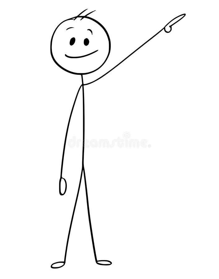 La historieta del hombre de negocios Pointing Left y sube libre illustration