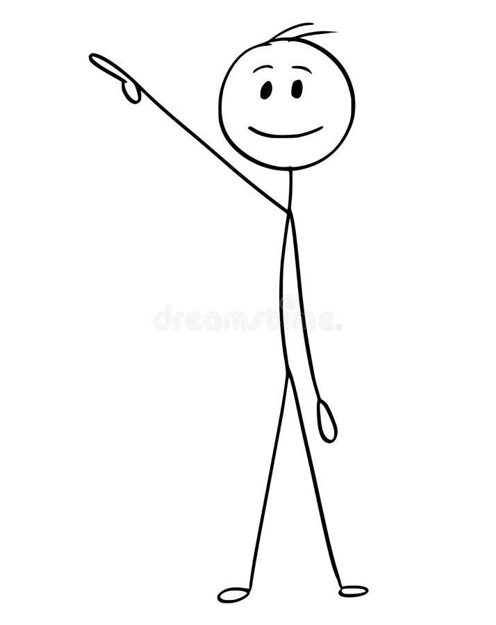 La historieta del hombre de negocios Pointing Right y sube ilustración del vector