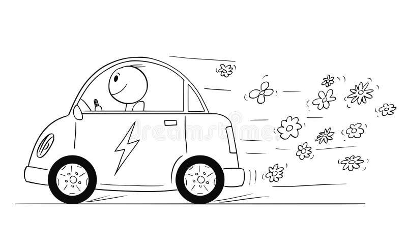 La historieta del hombre feliz que monta el coche eléctrico, flores está saliendo del vehículo stock de ilustración