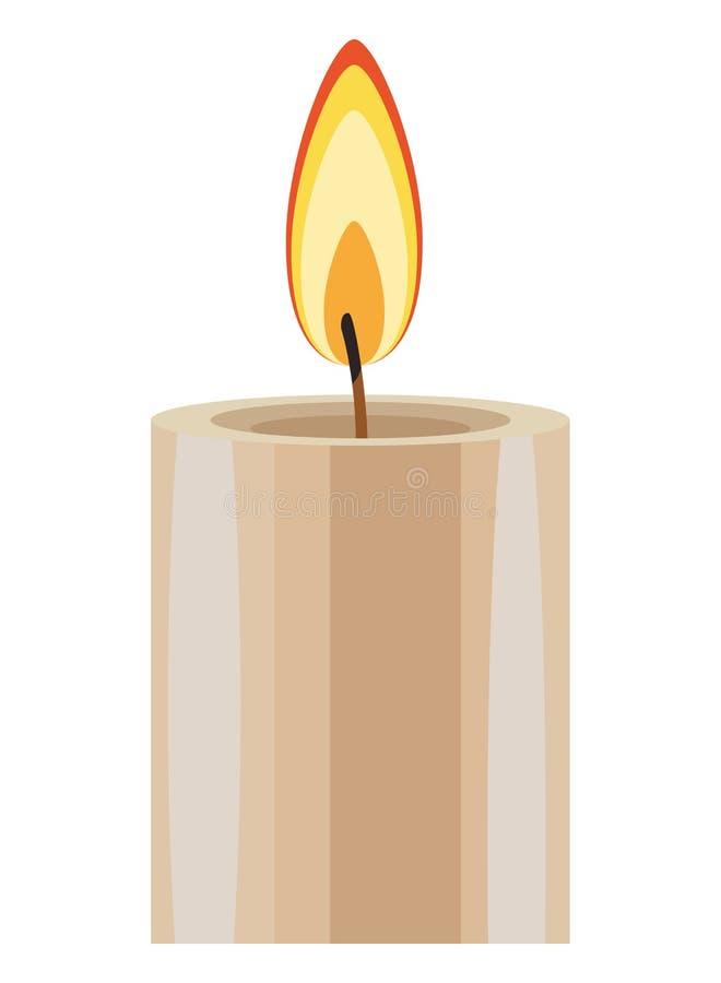 La historieta del icono de la vela del Lit aisló ilustración del vector