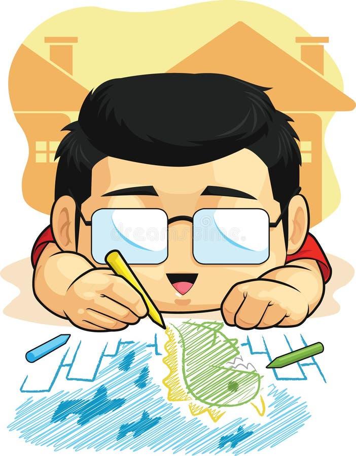 La historieta del muchacho ama el dibujar y el garabatear ilustración del vector