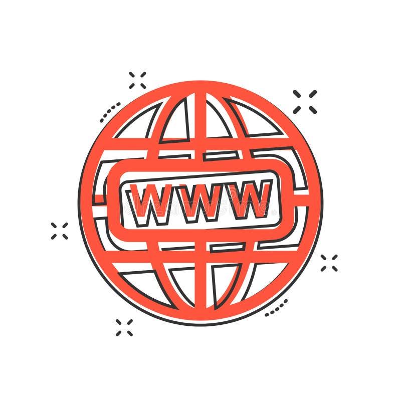 La historieta del vector va al icono del web en estilo cómico Muestra i del mundo del globo stock de ilustración
