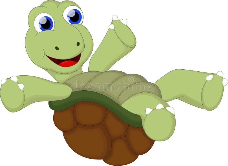 La historieta divertida de la tortuga con la muestra en blanco para usted diseña stock de ilustración
