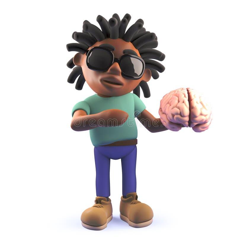 La historieta dreadlocked al hombre negro que sostenía un cerebro humano, ejemplo 3d ilustración del vector
