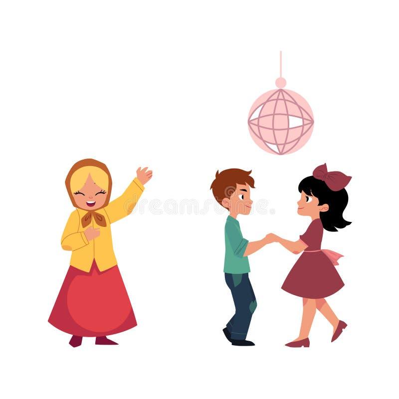 La historieta embroma el baile en el partido de disco, cantando libre illustration