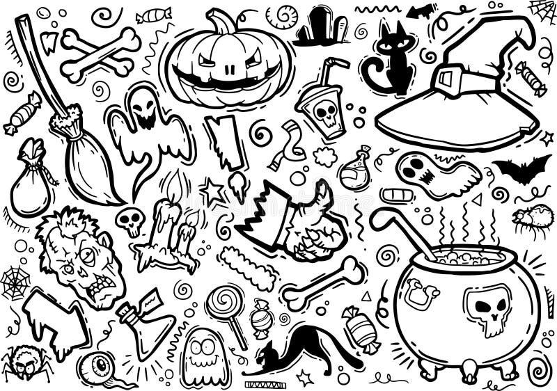 La historieta exhausta del garabato de la mano incompleta del vector fijó el tema de Halloween libre illustration