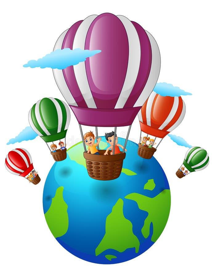 La historieta feliz embroma dentro de un globo del aire caliente que vuela sobre la tierra stock de ilustración