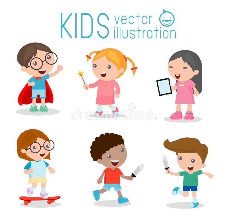 La historieta feliz embroma jugar, embroma jugar en el fondo blanco, patinando, niño del super héroe, tableta stock de ilustración