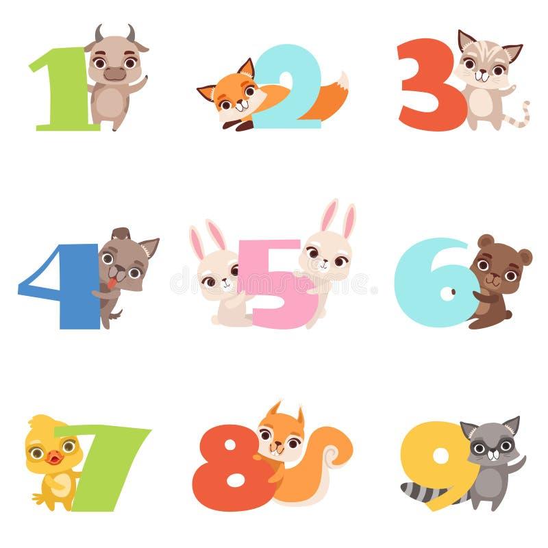 La historieta fijó con números coloridos a partir de la 1 a 9 y animales Becerro, zorro, gato, perro, conejo, oso, anadón, ardill ilustración del vector