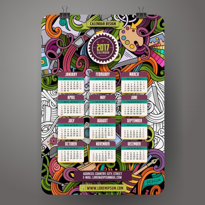 La historieta garabatea al diseñador plantilla del calendario de 2017 años ilustración del vector