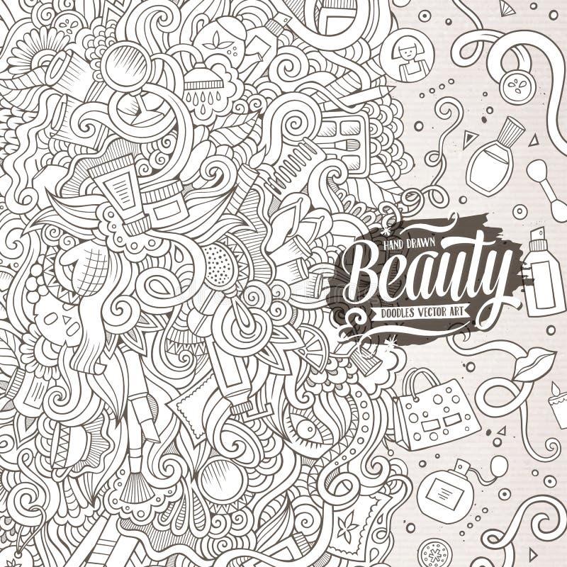 La historieta garabatea diseño del marco de los cosméticos stock de ilustración