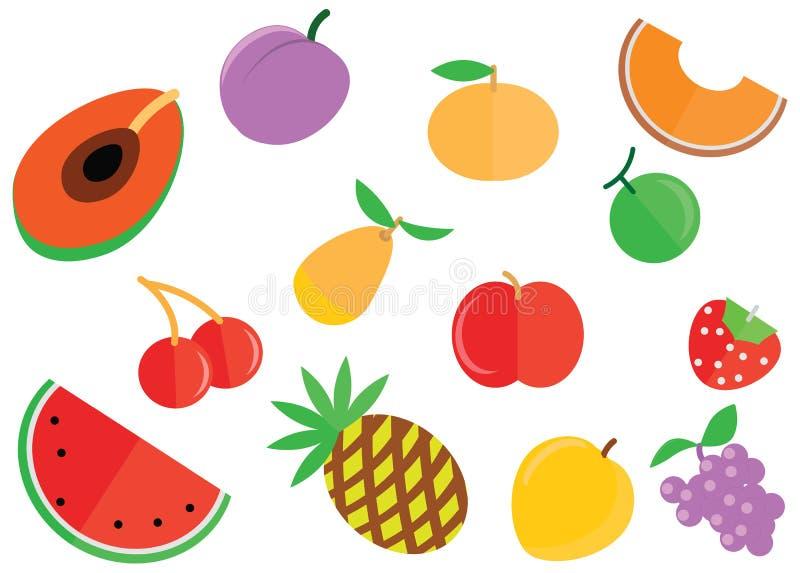 La historieta garabatea el fondo plano del verano de los iconos de la comida del color de las frutas del paquete stock de ilustración