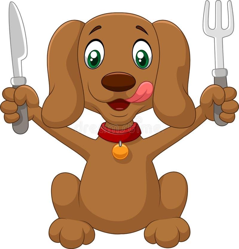 La historieta hambrienta del perro es preparada stock de ilustración