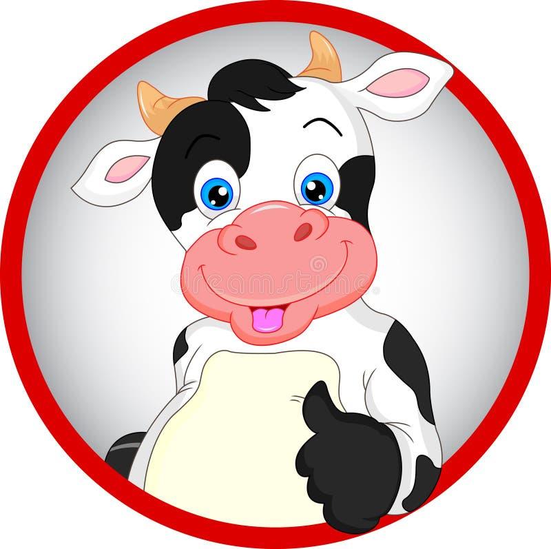 La historieta linda de la vaca manosea con los dedos para arriba stock de ilustración
