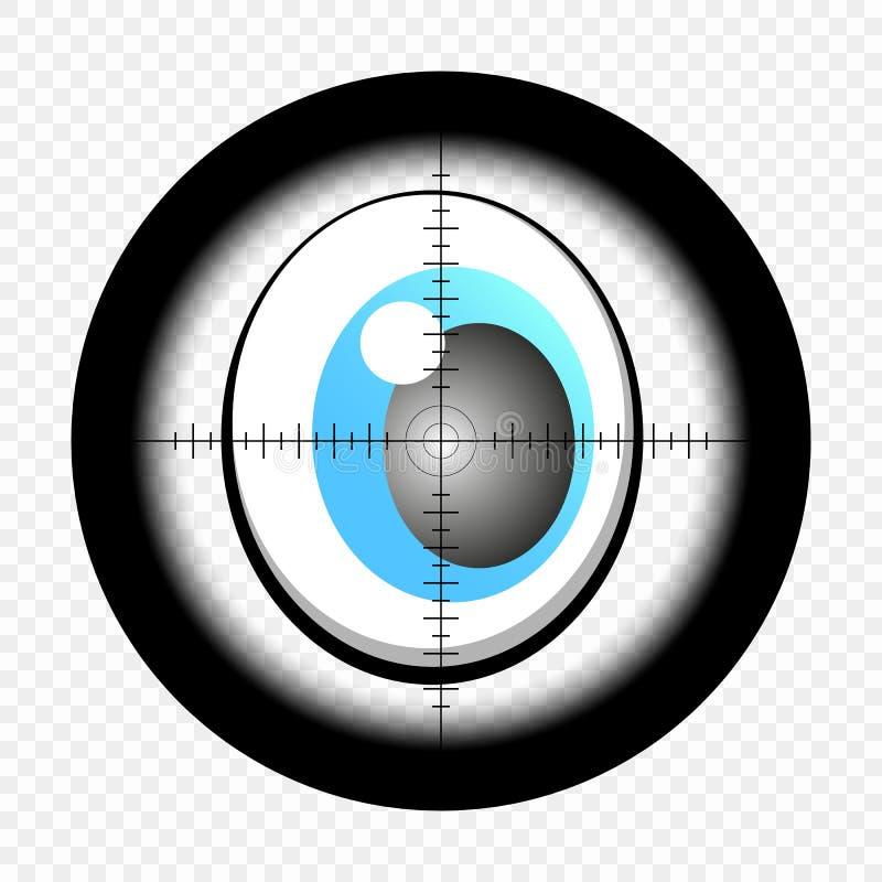 La historieta observa con vista óptica del francotirador Ojos que buscan la blanco A punta de pistola Vector ilustración del vector