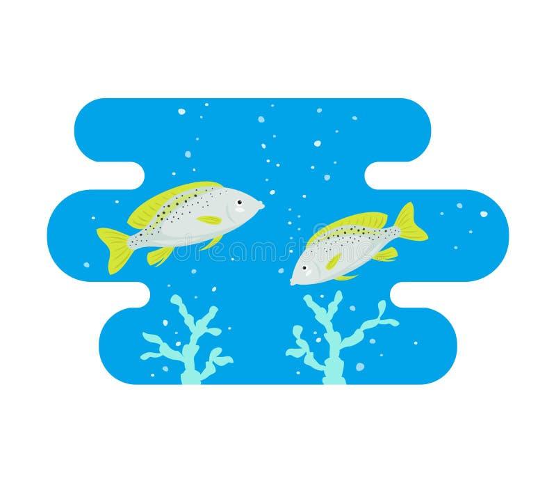 La historieta pesca el icono en fondo azul stock de ilustración