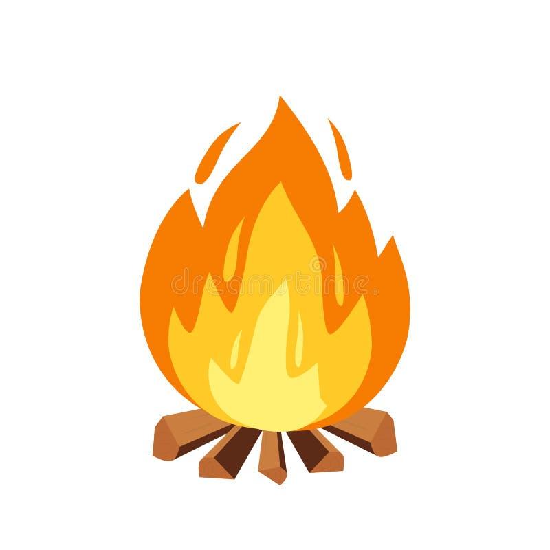 La hoguera del vector y el acampar firman adentro el ejemplo del estilo de la historieta Pila de madera ardiente, chimenea o icon libre illustration