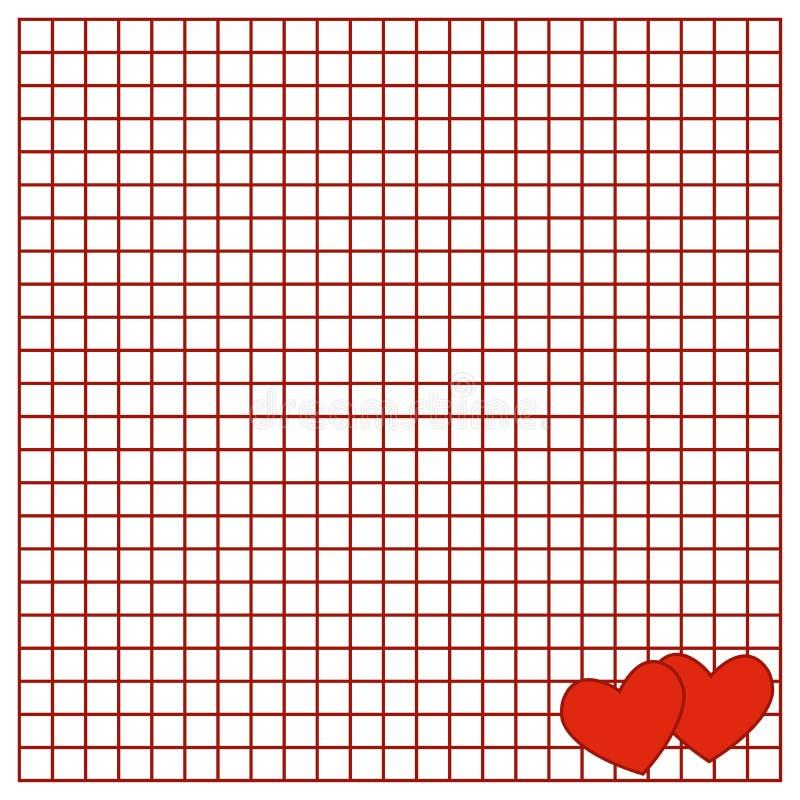 La hoja cuadrada del libro de la escritura con corazones libre illustration