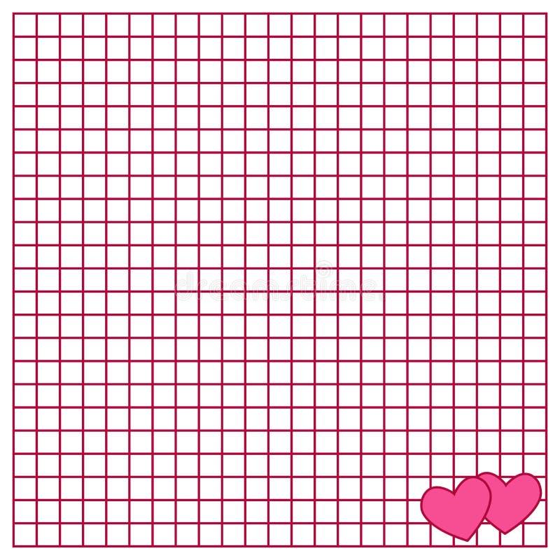 La hoja cuadrada del libro de la escritura con corazones ilustración del vector