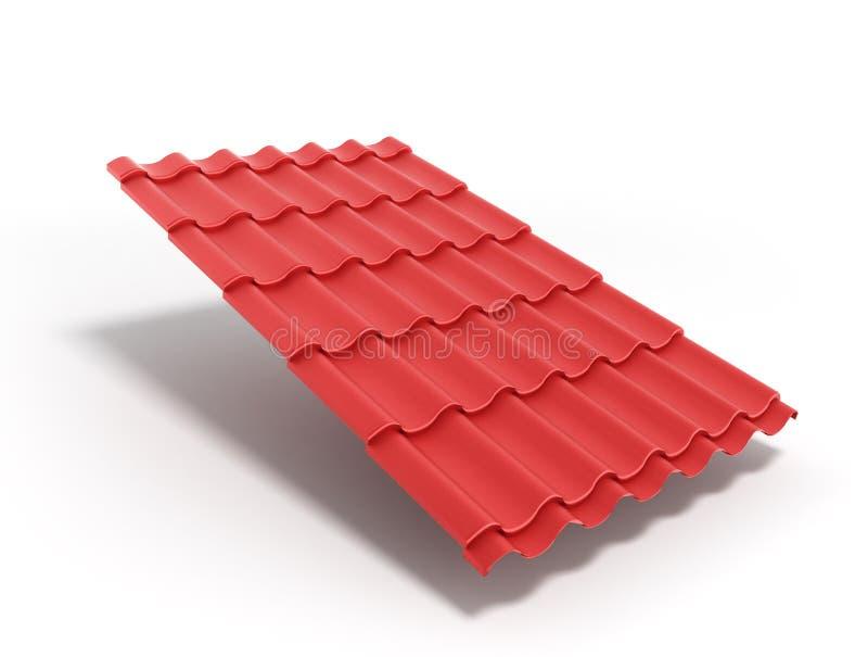 La hoja 3d de la teja del metal rinde aislado en el fondo blanco libre illustration