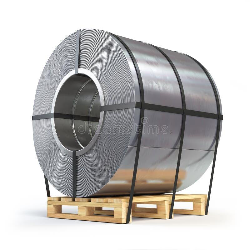La hoja de acero rodó, rollo del metal en una plataforma Producción, entrega stock de ilustración