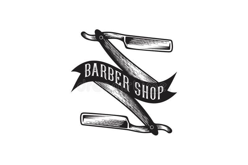 La hoja de afeitar dibujada mano, Barber Shop Logo Designs Inspiration aisló en el fondo blanco stock de ilustración