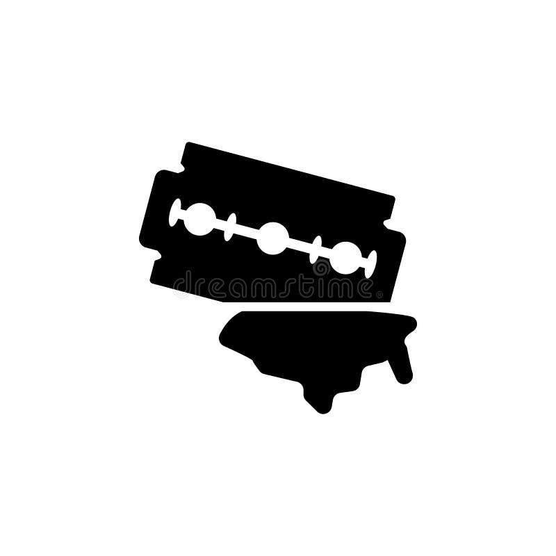 La hoja de afeitar de doble filo del peluquero de la acuarela aisló el icono en el fondo blanco ilustración del vector