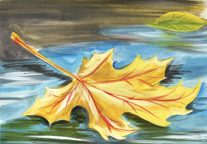 La hoja de arce amarilla del otoño miente en el asfalto mojado en un charco Cara a mano de las mujeres de illustration ilustración del vector