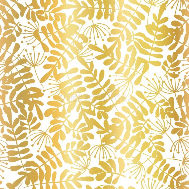 La hoja de oro sale del fondo inconsútil del vector Pasto abstracto de oro stock de ilustración