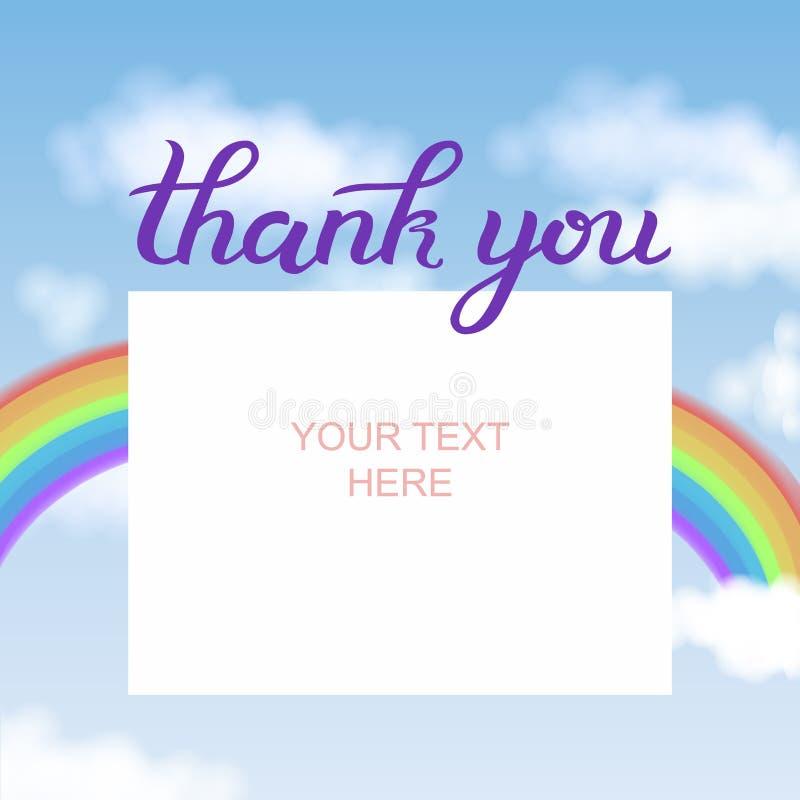 La hoja de papel y le agradece mano de la caligrafía que pone letras al texto debajo de ella, con el arco iris colorido en cielo  stock de ilustración