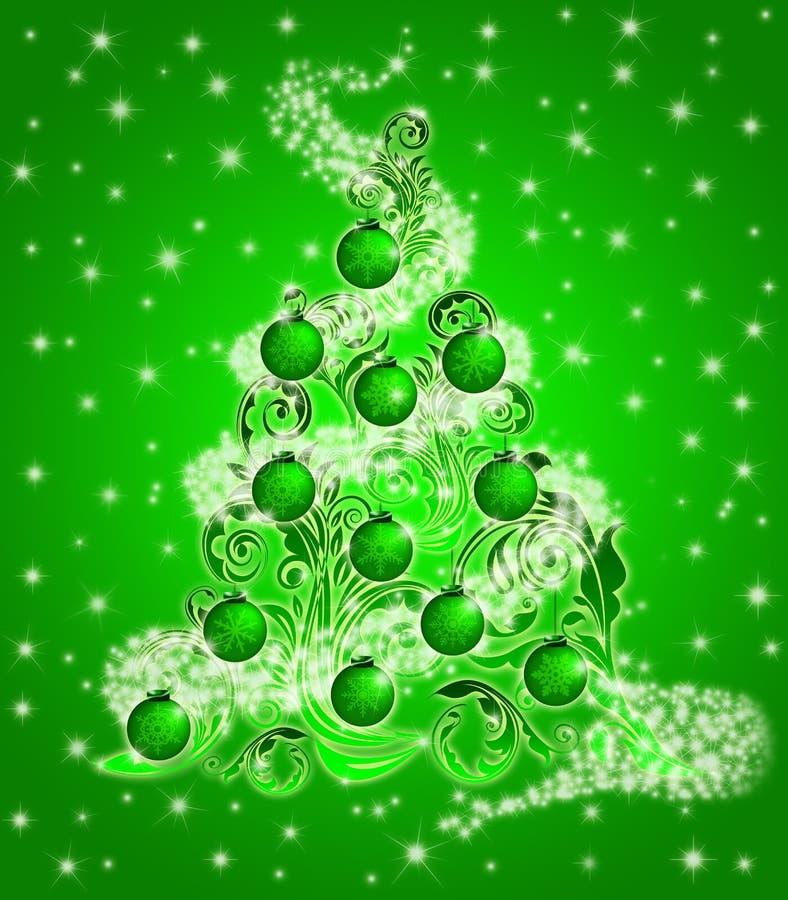 La hoja del árbol de navidad remolina las chispas y los ornamentos stock de ilustración