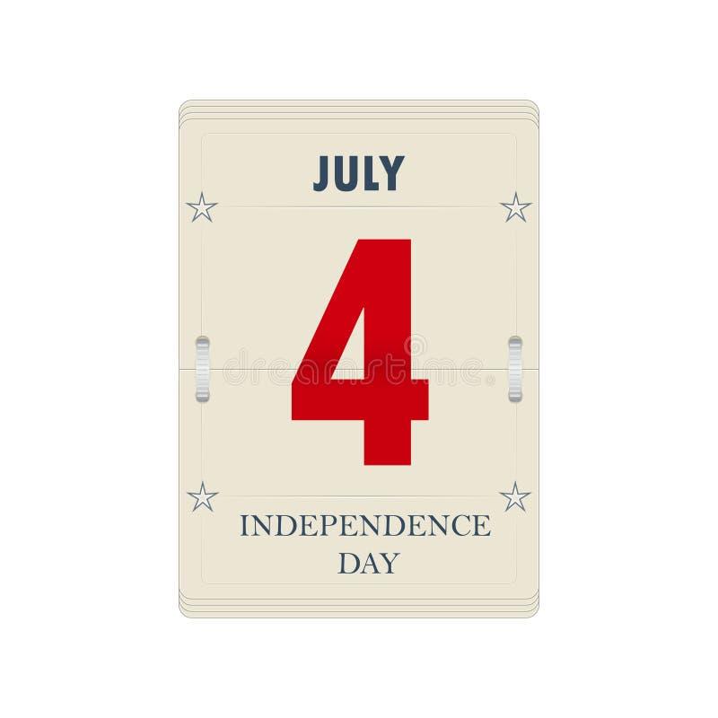La hoja del calendario del vector para el Día de la Independencia ilustración del vector