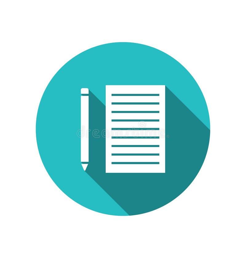 La hoja del papel del lápiz del icono cuted en el contexto azul redondo libre illustration