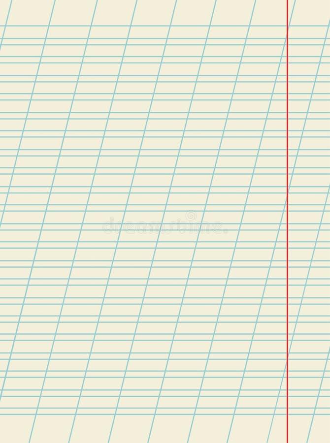 La hoja en blanco del cuaderno de la escuela con inclinado gobernó las líneas diagonales para escribir la práctica, vector Educta libre illustration