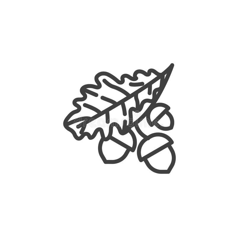 La hoja y las bellotas del roble alinean el icono stock de ilustración